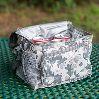 NAVIGATOR<sup>®</sup> 6-Can Cooler - This digital camo print insulated 6-can cooler will keep your beverages cool on the go.  Cooler features a zippered front pocket, side mesh pockets for extra storage and adjustable shoulder strap.