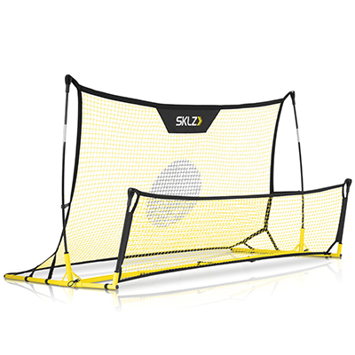 SKLZ<sup>&reg;</sup> Quickster Soccer Trainer - Take your skills to the next level with this portable soccer rebounder net.  This net works well as a volley, passing, and general soccer skills trainer. Features patented design and true-roll technology to mimic the action you'll feel in the game. The lightweight, yet durable frame is easy to transport in its carry case, and the four ground stakes help secure it when in use.  Weighing at 13.2 lbs with two nets measuring at 6x4' and 6x20'.